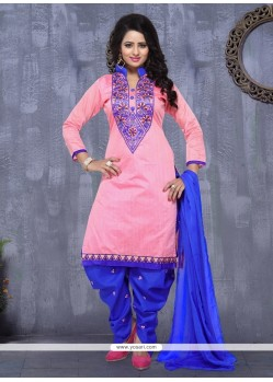 Peppy Pink Embroidered Work Cotton Punjabi Suit