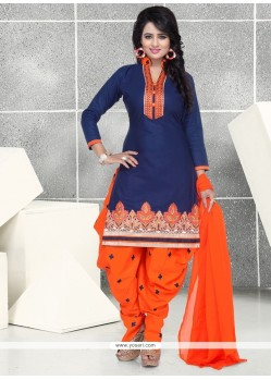 Navy Blue Cotton Punjabi Suit