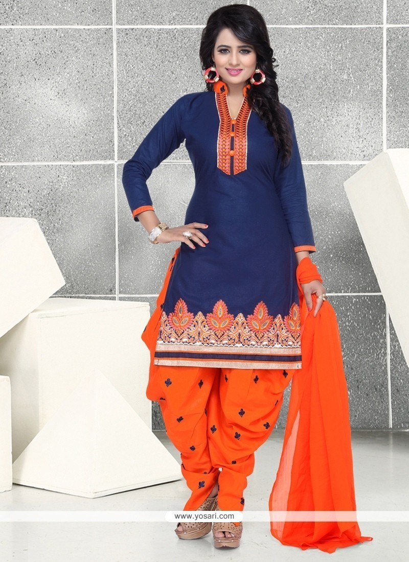 Navy Blue Cotton Punjabi Suit