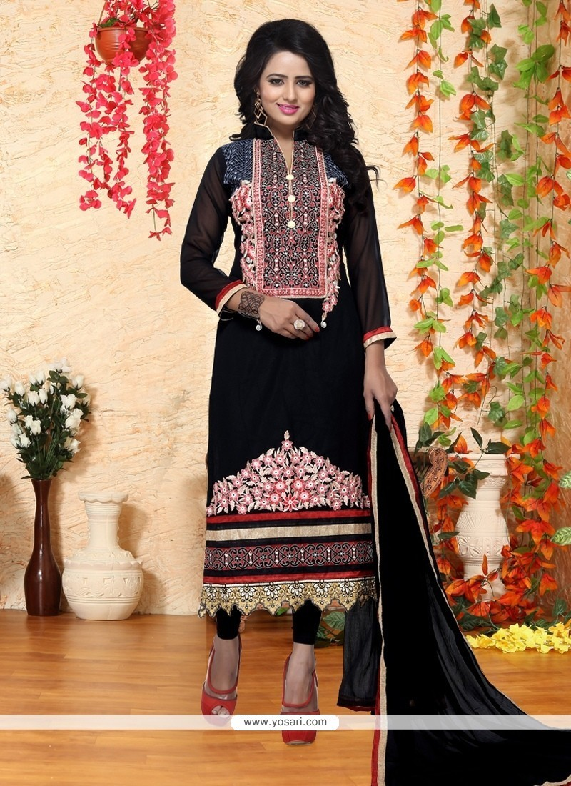 Innovative Georgette Resham Work Churidar Designer Suit
