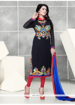 Intriguing Georgette Resham Work Churidar Designer Suit