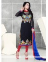 Intriguing Georgette Resham Work Churidar Designer Suit