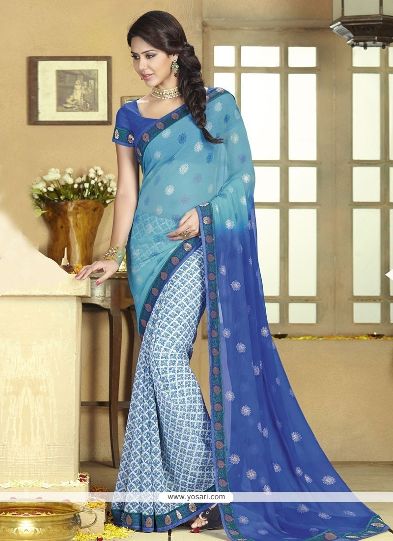Pristine Blue Chiffon Half And Half Saree