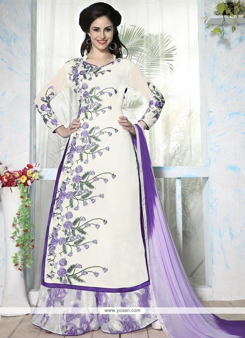 Invigorating Georgette Off White Resham Work Designer Palazzo Salwar Kameez