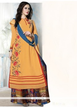 Graceful Georgette Orange Designer Palazzo Salwar Kameez