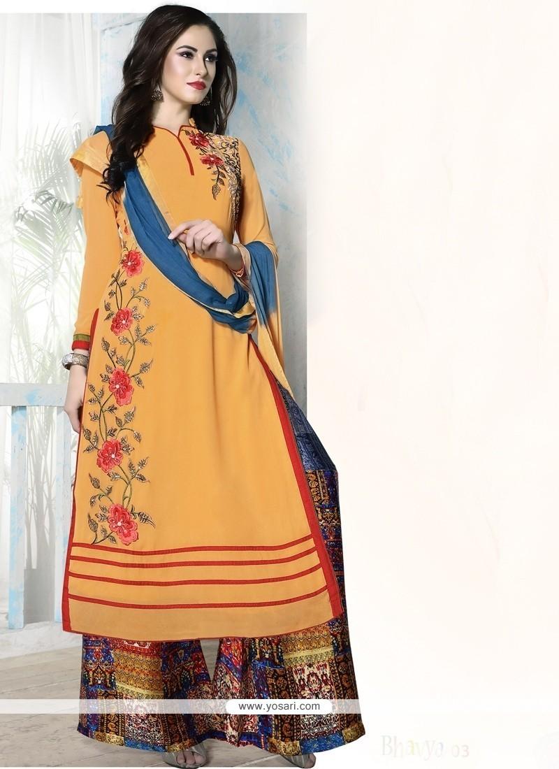 Graceful Georgette Orange Designer Palazzo Salwar Kameez
