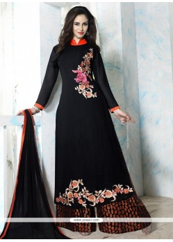 Enthralling Black Embroidered Work Georgette Designer Palazzo Salwar Kameez