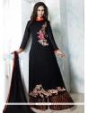 Enthralling Black Embroidered Work Georgette Designer Palazzo Salwar Kameez