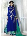 Flamboyant Resham Work Georgette Blue Designer Palazzo Salwar Kameez
