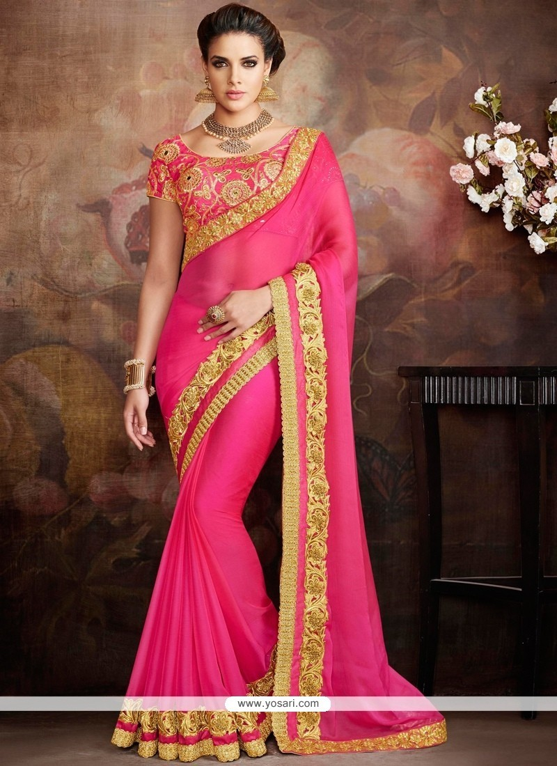 Epitome Faux Chiffon Embroidered Work Traditional Saree
