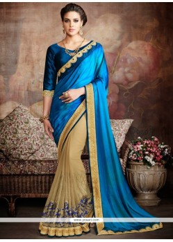 Fab Beige And Blue Classic Designer Saree