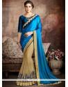 Fab Beige And Blue Classic Designer Saree