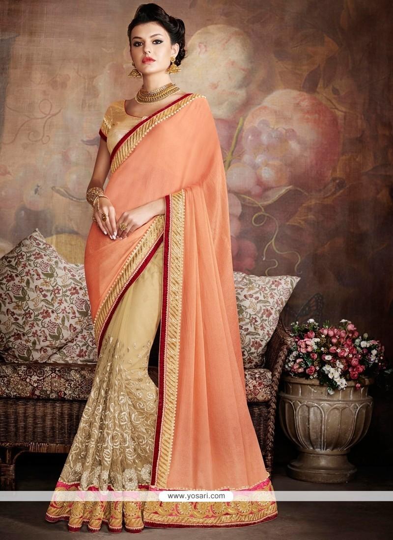 Fabulous Patch Border Work Beige And Orange Traditional Designer Sarees