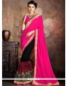 Glowing Black And Hot Pink Patch Border Work Georgette Classic Designer Saree