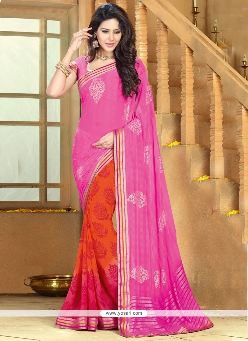 Orange And Pink Chiffon Saree