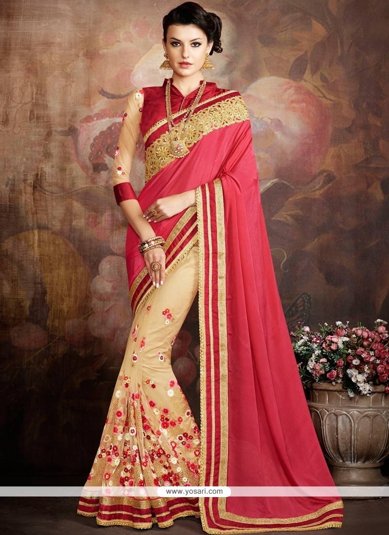 Sensible Georgette Beige And Red Embroidered Work Designer Traditional Sarees