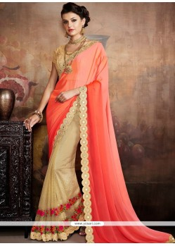 Elegant Beige And Orange Classic Designer Saree