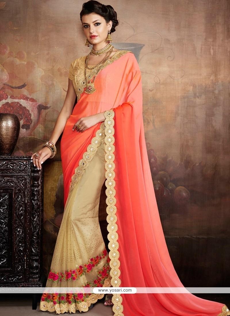 Elegant Beige And Orange Classic Designer Saree