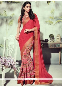 Topnotch Red Patch Border Work Printed Saree
