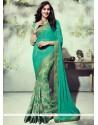 Phenomenal Print Work Sea Green Georgette Printed Saree