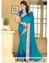 Blue Faux Chiffon Casual Saree
