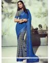 Whimsical Print Work Blue Georgette Printed Saree