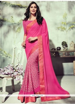 Genius Georgette Hot Pink Printed Saree