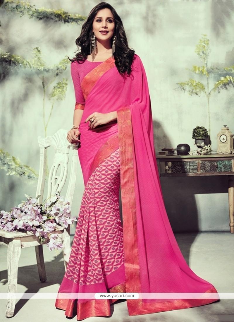 Genius Georgette Hot Pink Printed Saree