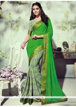 Subtle Green Printed Saree