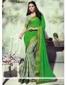 Subtle Green Printed Saree