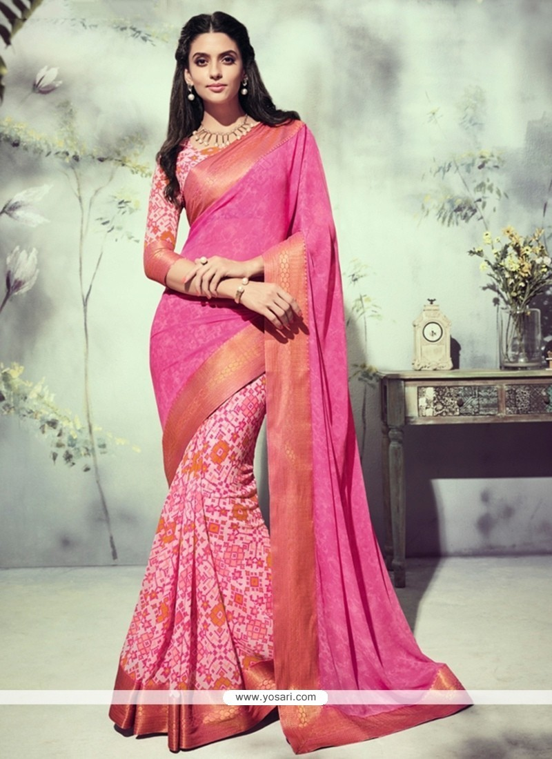 Ruritanian Georgette Hot Pink Printed Saree