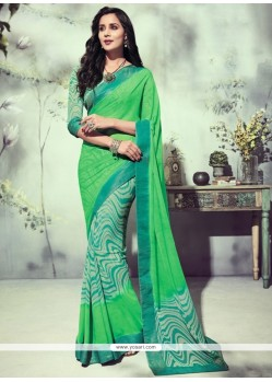 Lovable Georgette Sea Green Printed Saree