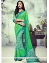 Lovable Georgette Sea Green Printed Saree