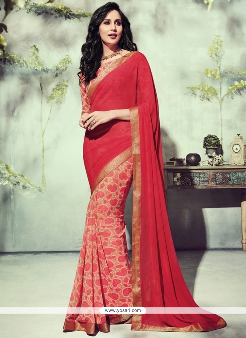 Remarkable Georgette Red Printed Saree