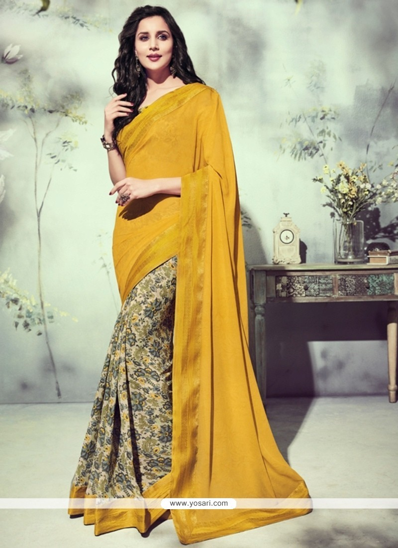 Captivating Patch Border Work Mustard Georgette Printed Saree