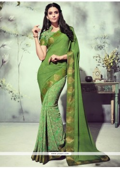 Gripping Green Printed Saree