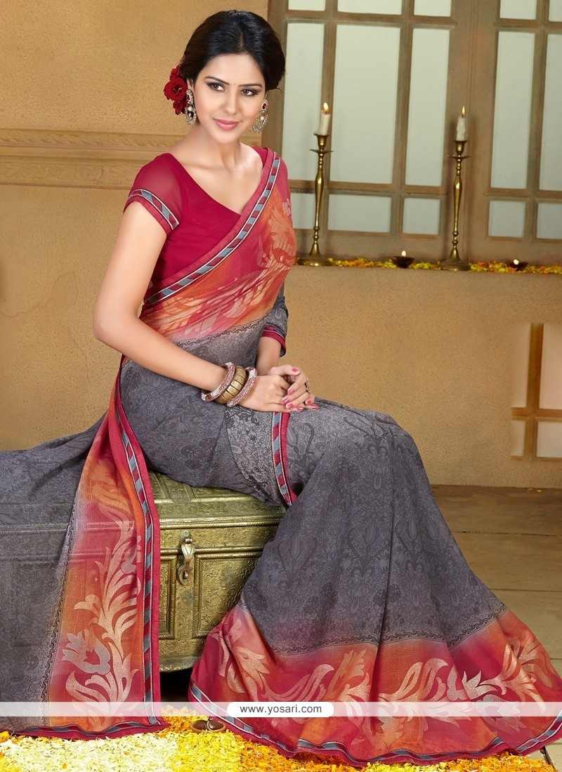 Perfect Grey And Red Georgette Saree