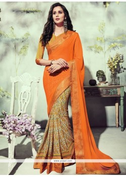 Floral Georgette Orange Printed Saree
