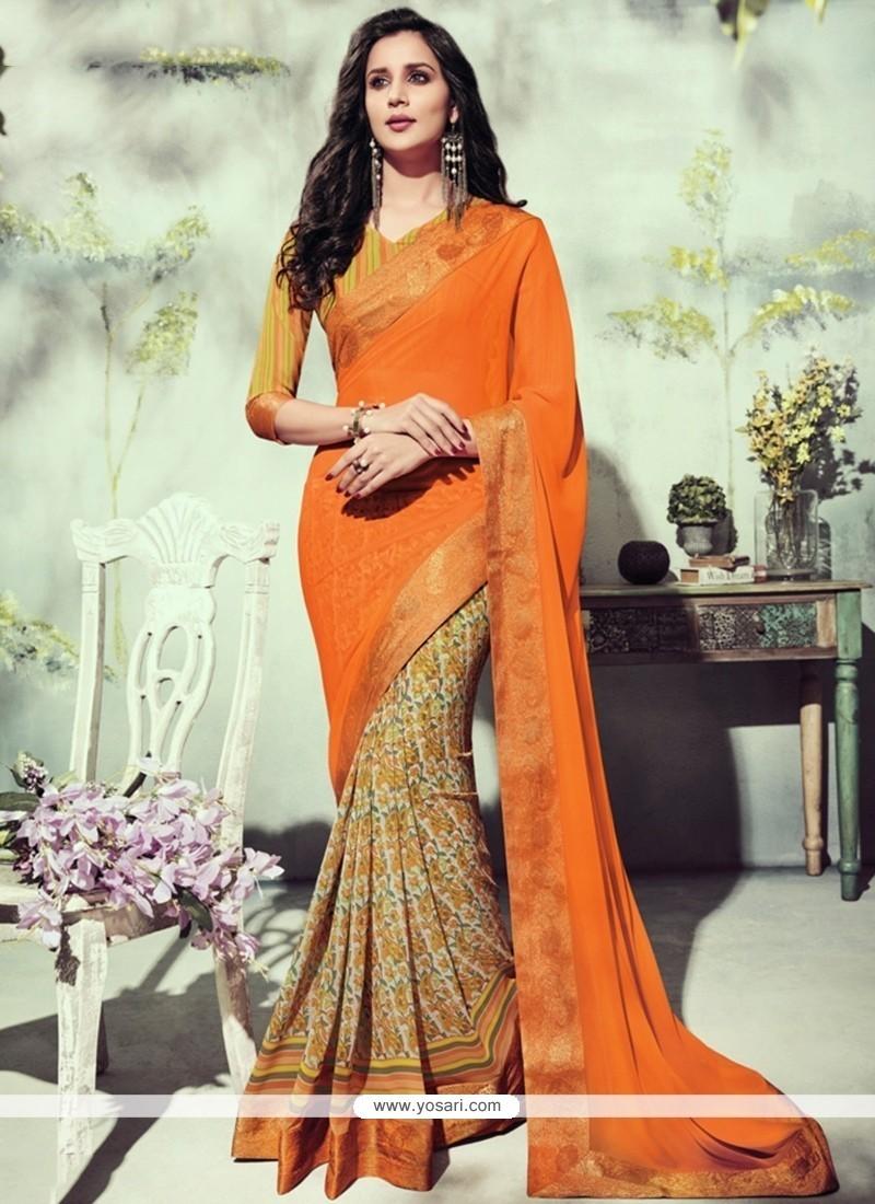 Floral Georgette Orange Printed Saree