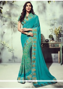 Exceeding Blue Patch Border Work Georgette Printed Saree