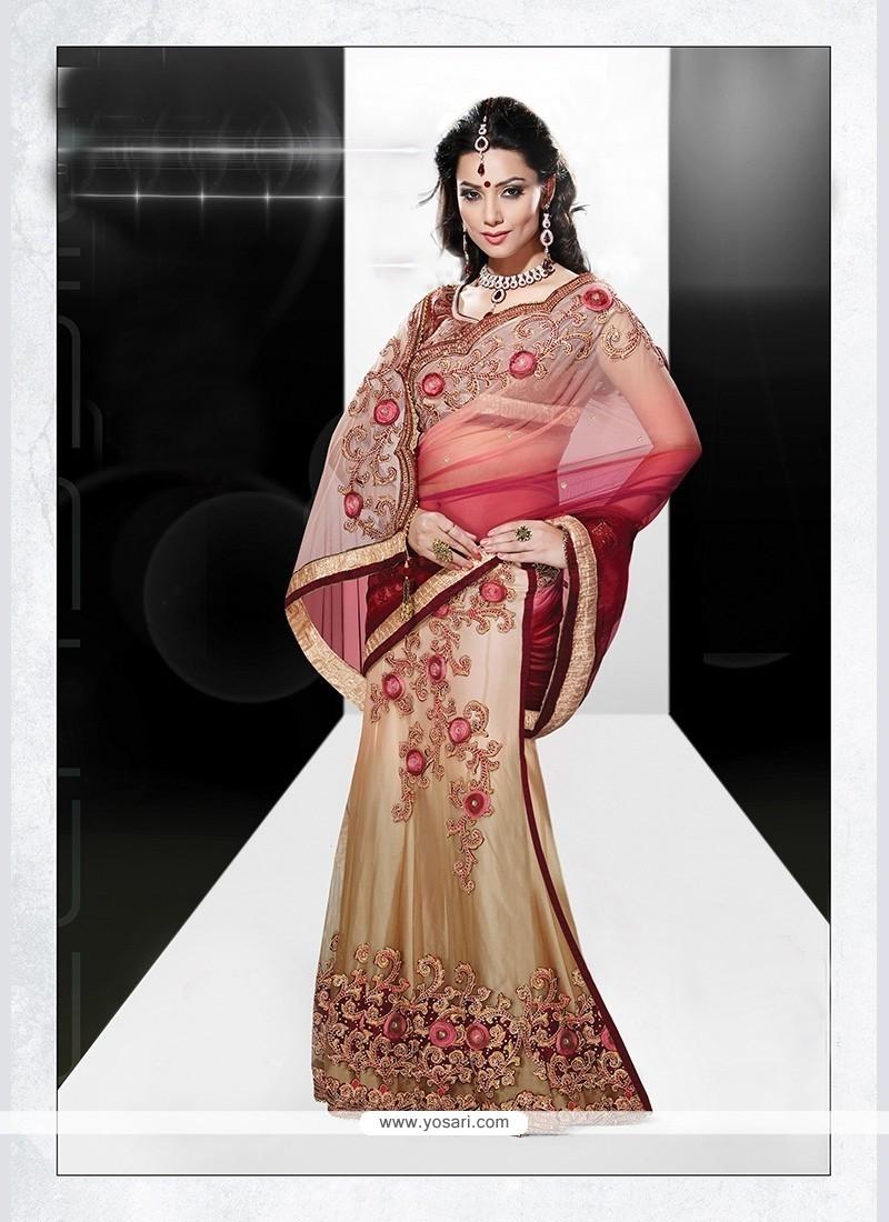 Refreshing Net Embroidered Work Lehenga Saree