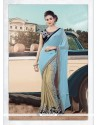 Prodigious Georgette Turquoise Patch Border Work Traditional Saree