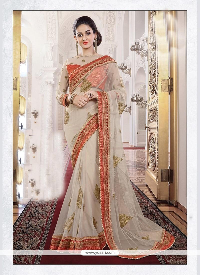 Invigorating Off White Net Trendy Saree
