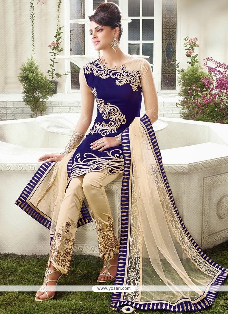 Royal Blue Velvet Straight Suit
