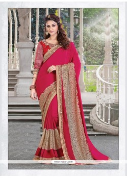 Delightsome Red Embroidered Work Georgette Designer Traditional Sarees