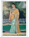 Sunshine Net Turquoise Classic Designer Saree