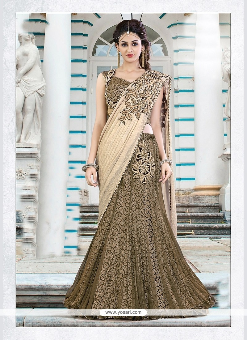 Competent Georgette Brown Lehenga Saree