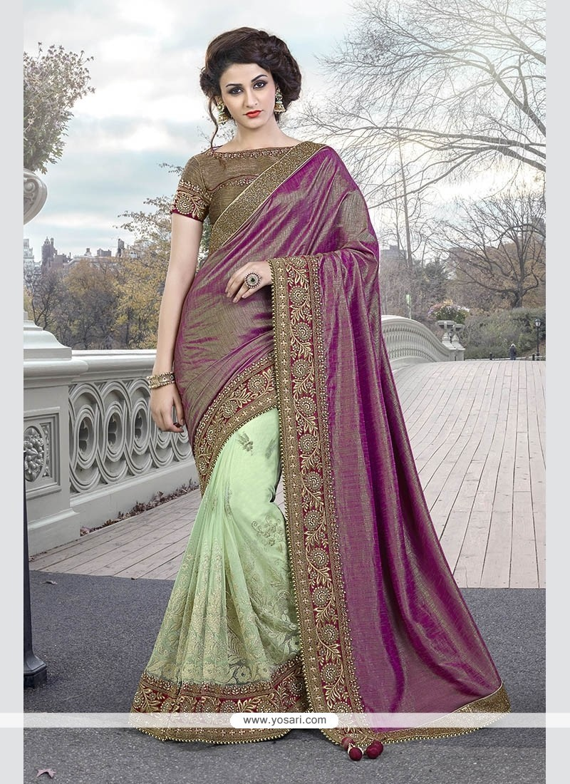 Remarkable Raw Silk Sea Green Designer Traditional Sarees