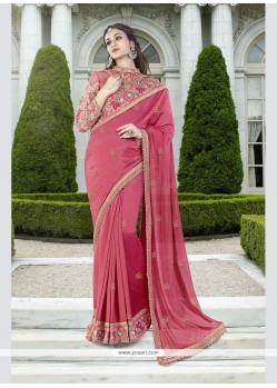 Dilettante Georgette Hot Pink Traditional Saree