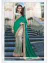 Outstanding Green Embroidered Work Net Classic Designer Saree
